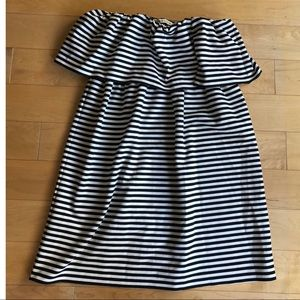 Ruffle Strapless Stripe Dress